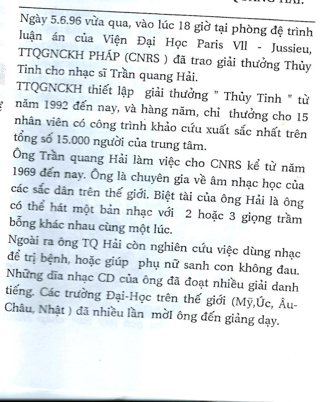 tqh cristal cnrs 1996 BÁO SỰ THẬT tháng 7, 1996